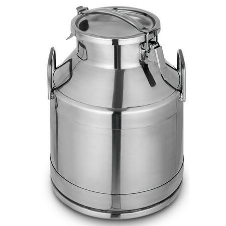 BestEquip Stainless Steel Milk Can 20 Liter Milk bucket Wine Pail Bucket 5.25 Gallon Milk Can Tote Jug with Sealed Lid Heavy Duty
