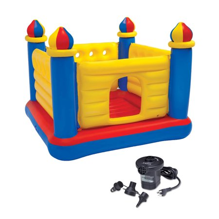 Inflatable Castle - INTEX Inflatable Jump-O-Lene Ball Pit Castle Bouncer & Quick Fill Air Pump