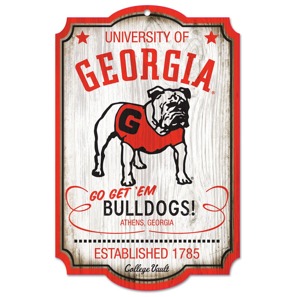 Georgia Bulldogs Official NCAA 20 inch  x 15 inch  Wood Sign College Vault by Wincraft, Inc.