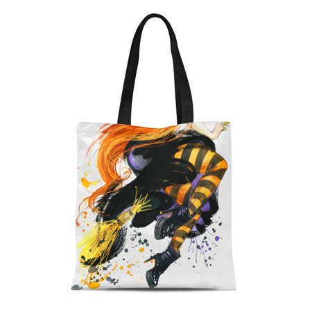 ASHLEIGH Canvas Tote Bag Orange Coven Girl Witch Halloween Holiday Festival Watercolor Hand Reusable Shoulder Grocery Shopping Bags Handbag](Halloween Witches Coven)