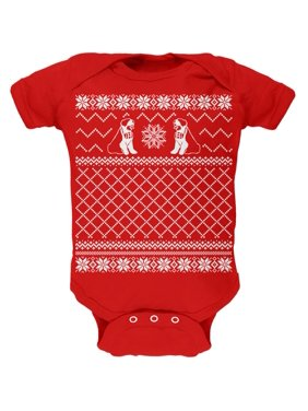e7b6f5dff5 Product Image Saint Bernard Ugly Christmas Sweater Red Soft Baby One Piece