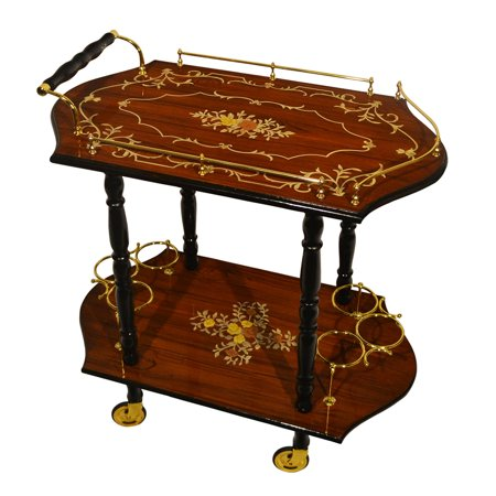 Entertainment Beverage Cart (Sorrento Inspired Inlaid Wood Burl Wood Toned Beverage Serving)
