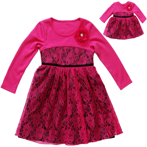 "Together Forever, Matching Girl and 18"" Doll Dress Set"