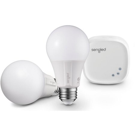 Sengled Element Classic Dimmable White Smart A19 Starter Kit, 60W Equivalent, Hub Included, 2 Bulbs