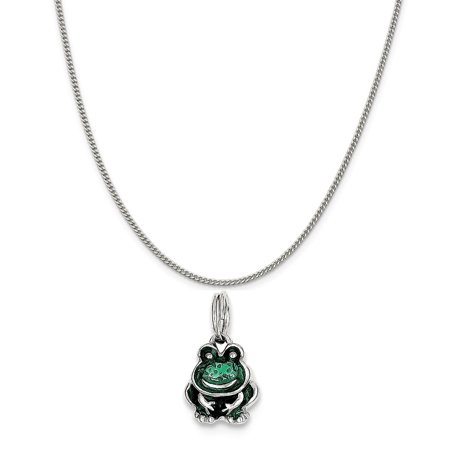 - Sterling Silver Green Enameled Frog Charm on a Sterling Silver Curb Chain Necklace, 18
