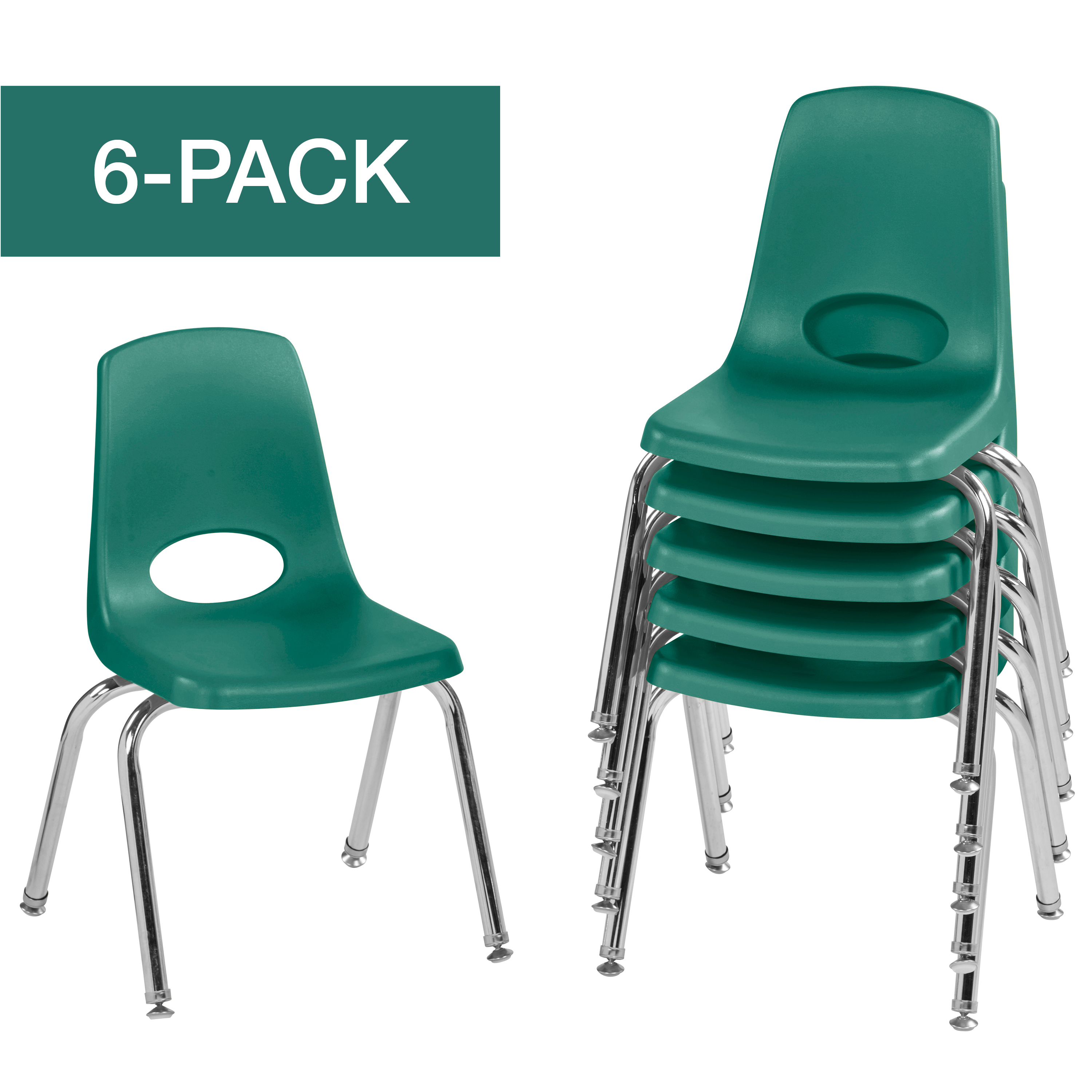 ECR4Kids Set of 6 14in Stack Chair Chrome Legs Swivel Glide, Multiple Colors