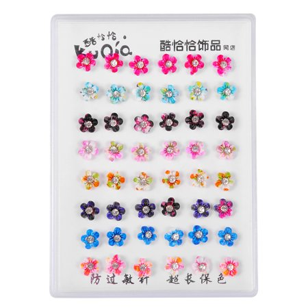 Floral Earring Accessories Jewelry (Lux Accessories Multicolored Assorted Floral Flower Set of 24 Pairs Earrings )