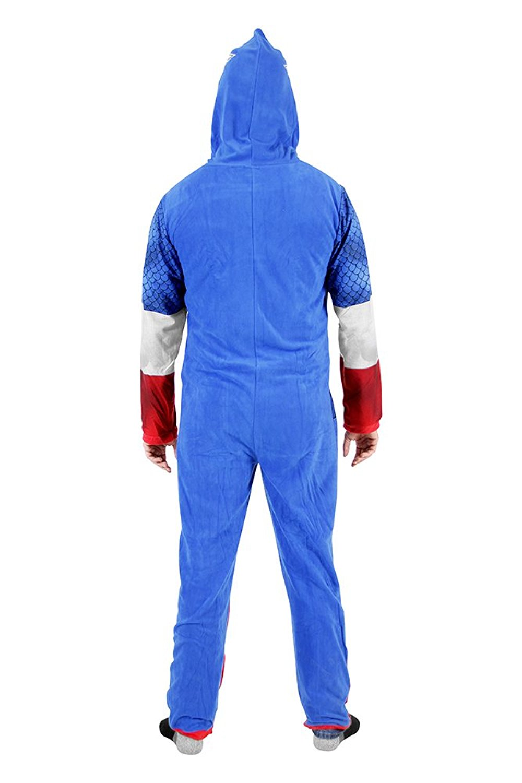 Captain America Adult Union Suit Costume Pajama Onesie with Hood