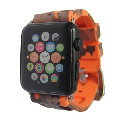 iPartsonline Sport Camo Waterproof Band Compatible for Apple Watch 42/44mm Camouflage Silicone Strap for iWatch 4/3/2/1 Rubber Band (Orange) Orange