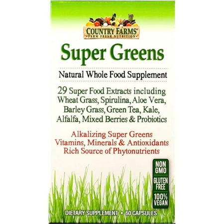 Country Green - 2 Pack - Country Farms  Super Greens Natural Whole Food Supplement Veggie Capsules 60 ea