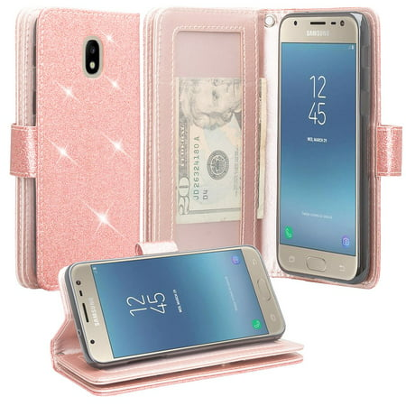 For Tracfone Samsung Galaxy J7 Crown (S767VL) Case Glitter Pu Leather Flip Wallet Case [ID&Credit Card Slots] Phone Cases  - Rose (Cases Flip Case)