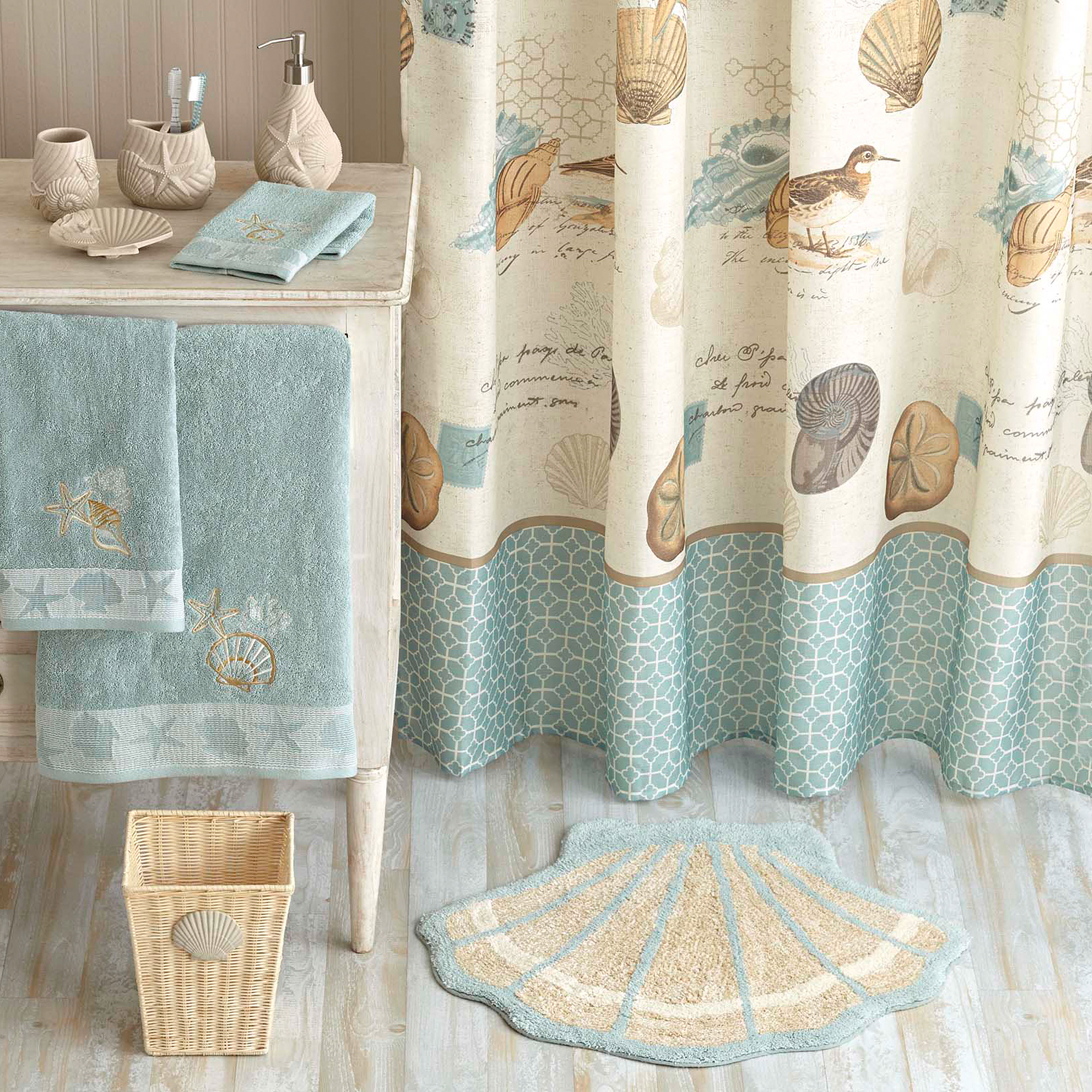 Mint green shower curtain and rugs - Better Homes And Gardens Coastal Collage Fabric Shower Curtain