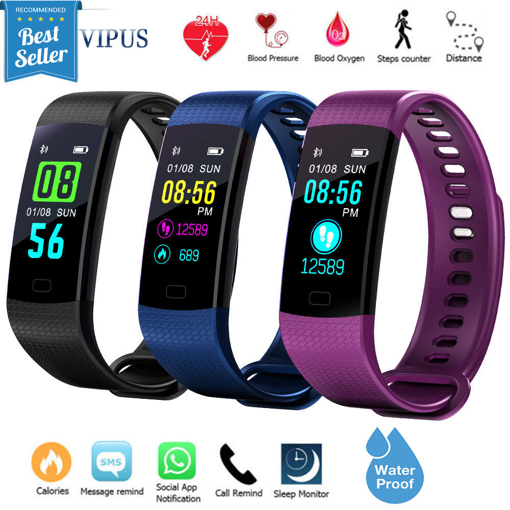 Fitness Tracker Watch With Heart Rate Monitor Waterproof, Activity Monitor Tracker Smart Band With Blood Pressure,Colorful Screen,Step Counter,Sleep Monitor,GPS Tracker For Women Men Children Black