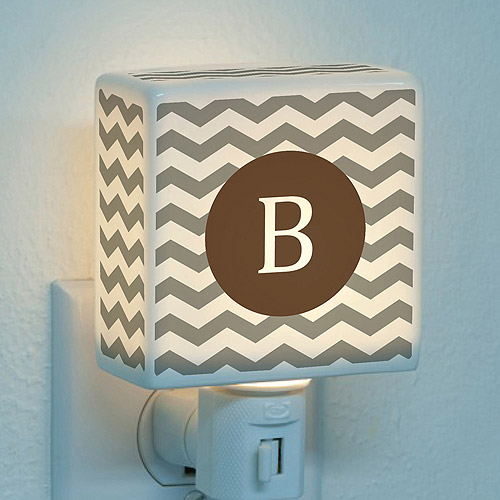 Personalized Chevron Initial Night Light, Brown