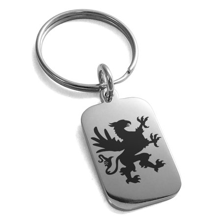 Stainless Steel Grandiose Griffin Engraved Small Rectangle Dog Tag Charm Keychain Keyring (Griffin Jewelry)
