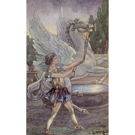 Wonder Stories 1920 Bellerophon Took The Golden Reins Canvas Art   Clara M Burd  18 X 24