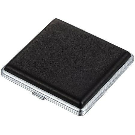 Visol Cortesia Black Leather Double Sided Cigarette Case - Holds 18 Regular Cigarettes