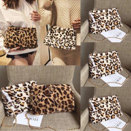 Women Faux Fur Handbag Shoulder Lady Purse Leopard Printed Satchel Crossbody (Faux Fur Handbag Purse)