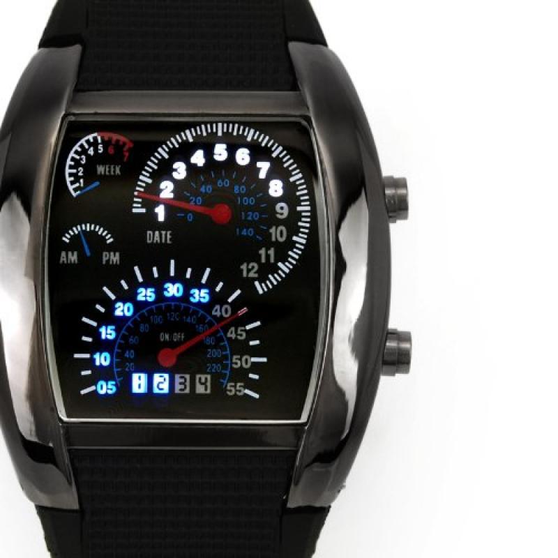 Metal Black Case Black Band Luxury Turbo Matrix LED Speed...