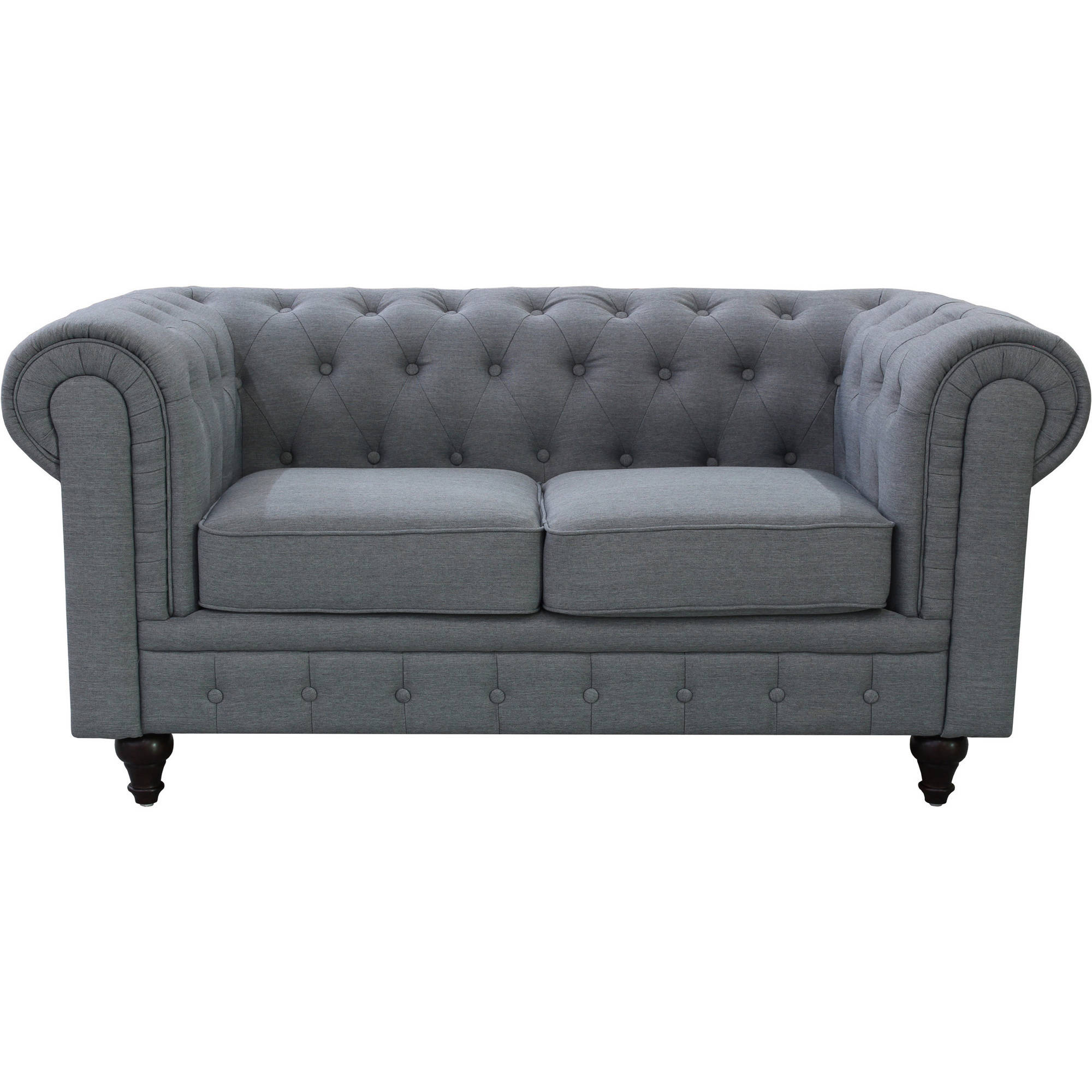 US Pride Furniture Linen Fabric Chesterfield Loveseat