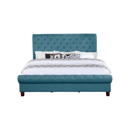 Leonel Signature Queen Size Upholstered Rounded Panel Bed, Multiple Colors (Sculptured Round Bed)