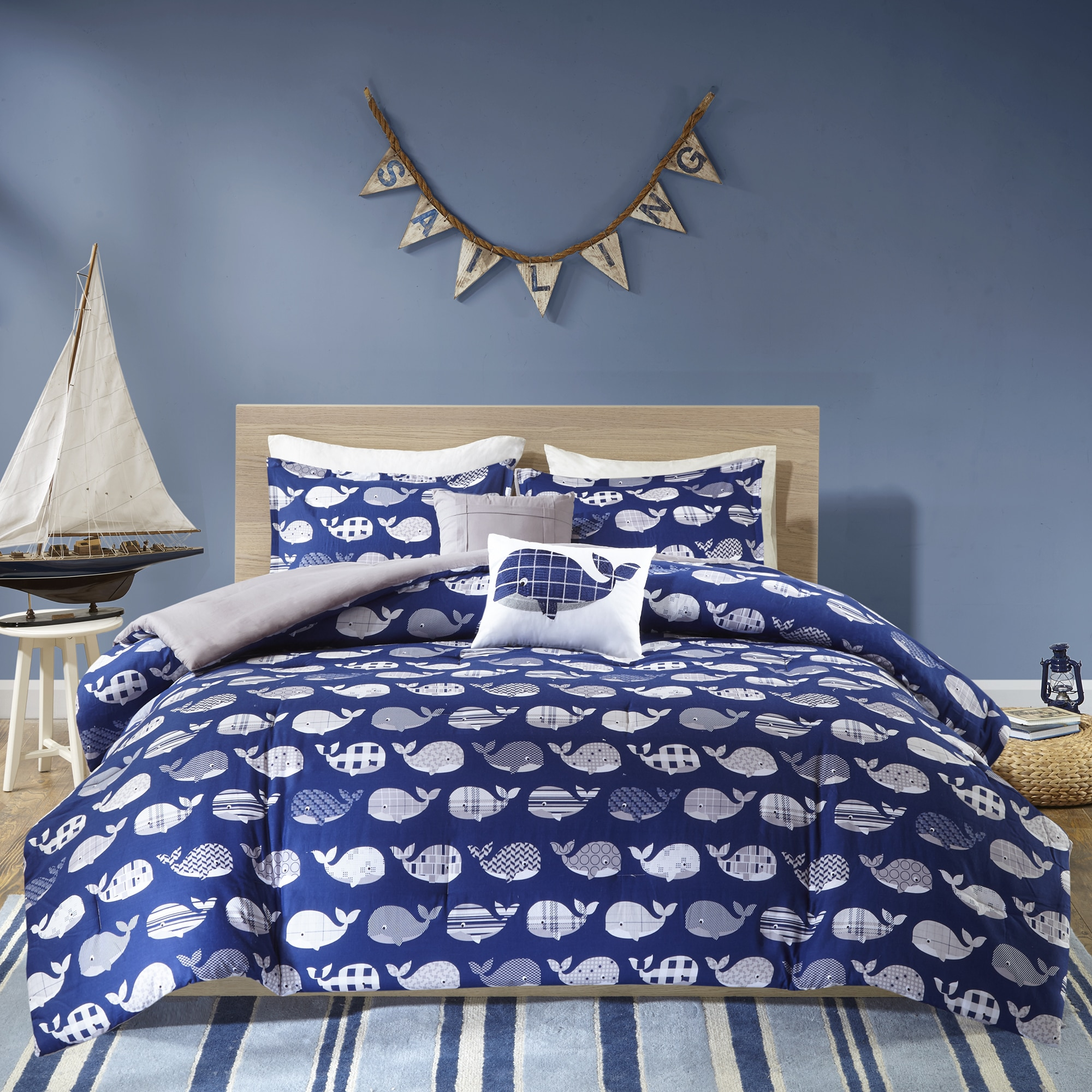 Home Essence Kids Theo Whale Printed Cotton Comforter Bedding Set
