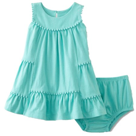 Infant Girls 2 PC Baby Outfit Mint Green Pom-Pom Sundress Dress & (Sundress Set)