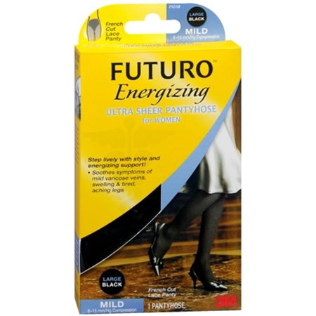 FUTURO Energizing Ultra Sheer Pantyhose For Women French Cut Lace Panty Mild Large Black 1 Pair (Pack of 4)