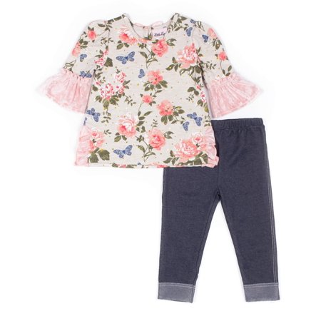 (Little Lass Floral French Terry and Velvet Top & Knit Denim Legging, 2-Piece Outfit Set (Little Girls))