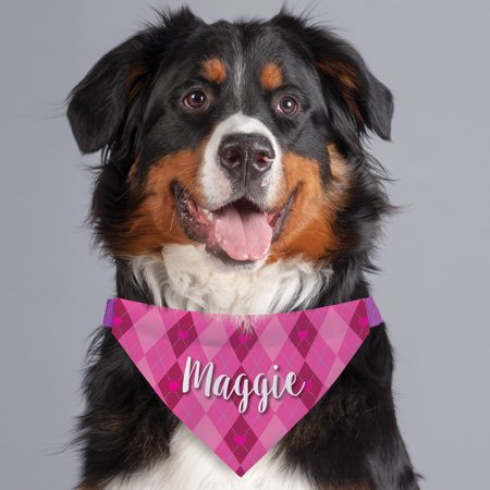 Pink and Red Heart Argyle Personalized Dog Bandana Collar Cover (Pink Red Dog Collar)