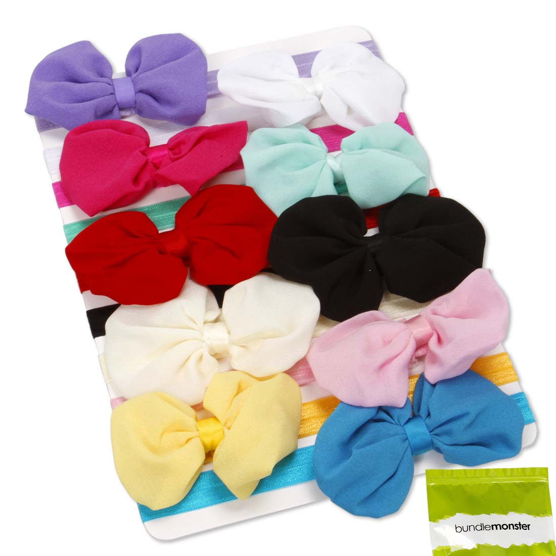 Bundle Monster 10pc Baby Girl Soft Chiffon Bow Elastic Headband Hair Accessories