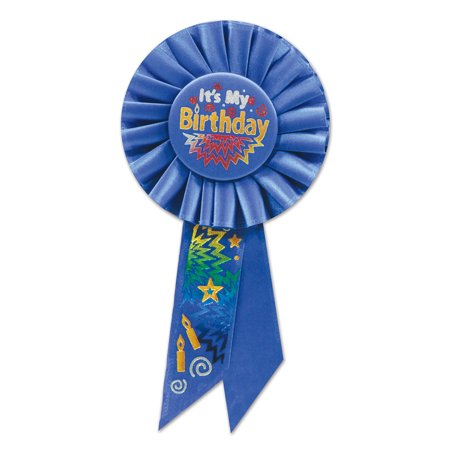Blue It's My Birthday Rosette (Pack of 6) - Today It's My Birthday