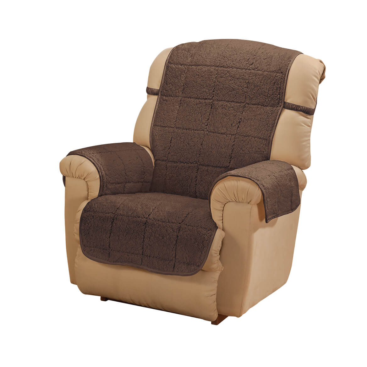 """Parker Sherpa Recliner Cover by OakRidge, Camel Water Resistant Polyester – 48"""" x 23"""" Back Cover & 30.5"""" x 23"""" Seat Cover & 2 Arm Covers of 21"""" x 16"""", Machine Washable"""