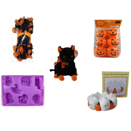 Halloween Fun Gift Bundle [5 Piece] -  Black & Orange Pumpkin Garland 10 ft. - Party Favors Pumpkin Candy Containers 6 Count - Ty Beanie Baby