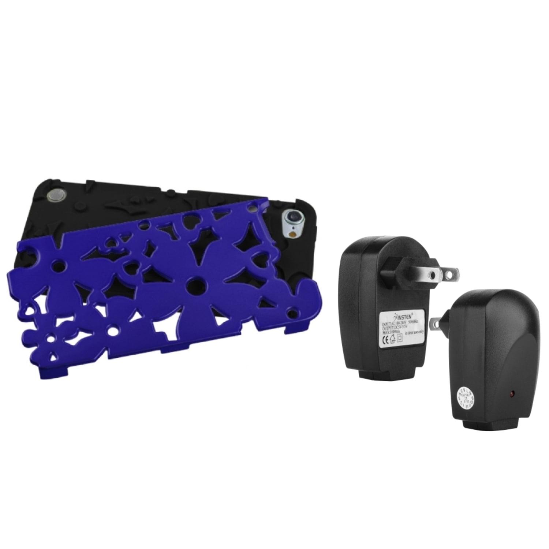 Insten Titanium Dark/Black Flowerpower Case For iPod Touch 6 6G 5 5G...