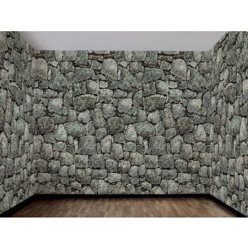 Making Paper Halloween Decorations (Dungeon Décor Stone Wall Backdrop Halloween)