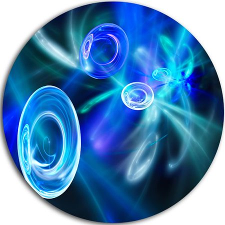 Design Art Blue Fractal Desktop Wallpaper Graphic Art Print On Metal