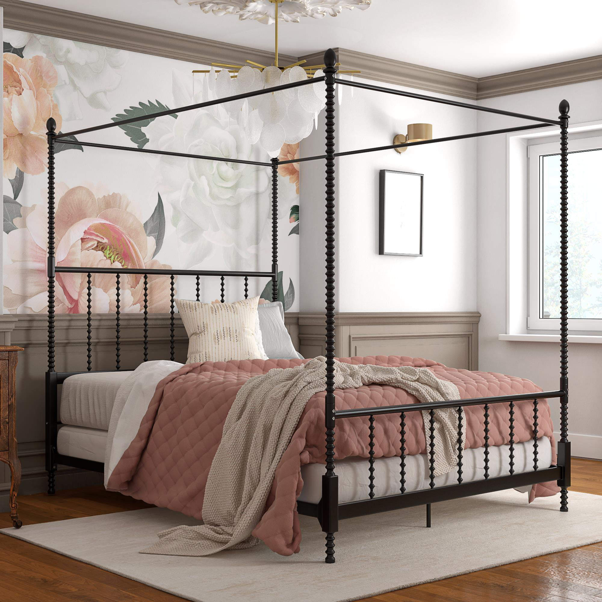 Pemberly Row Parisian Style Design Metal Canopy Bed In Queen Size Frame In Black Walmart Com Walmart Com