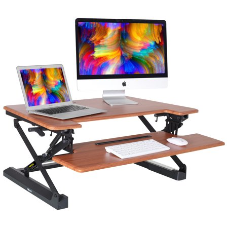 Mllieroo Adjustable 35'' Standing Desk Dual Monitor Riser Spring Stand Converter Desk Computer Desktop Stand