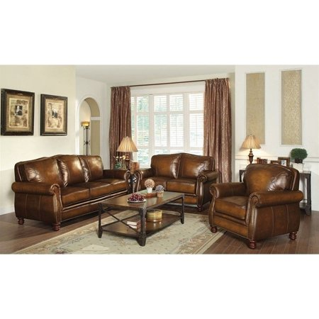 Coaster montbrook 3 piece leather sofa set in brown for Eurodesign brown leather 5 piece sectional sofa set