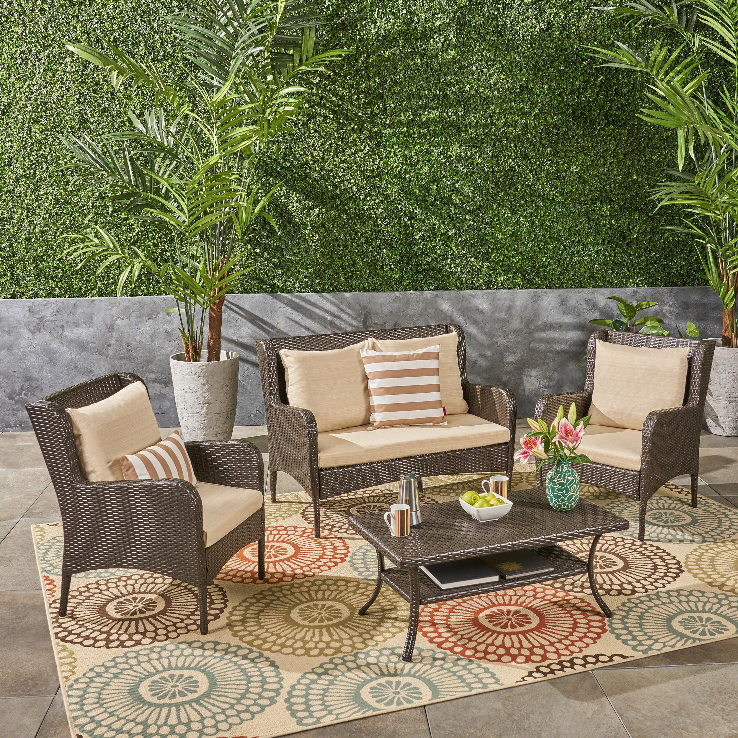 Jaylen Outdoor 4 Piece Wicker Chat Set with Cushions, Dark Gray, Silver