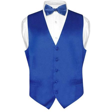 (Biagio Men's SILK Dress Vest & Bow Tie Solid ROYAL BLUE Color BowTie Set)