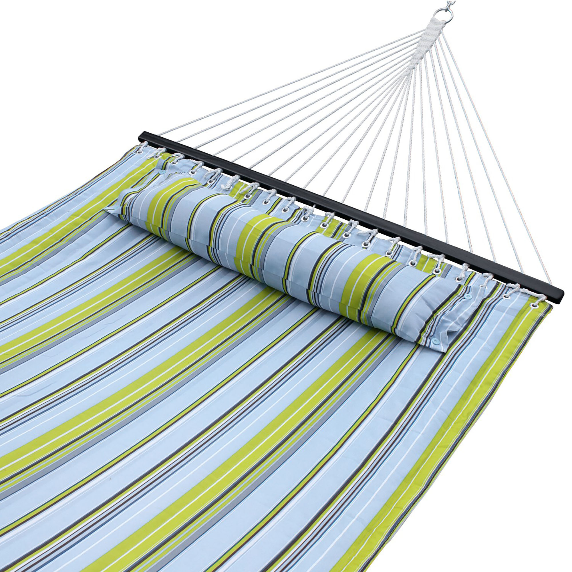 Zeny Outdoor Double Hammock Quilted Fabric Sleeping Bed Swing Hang W  Pillow 2 Person by