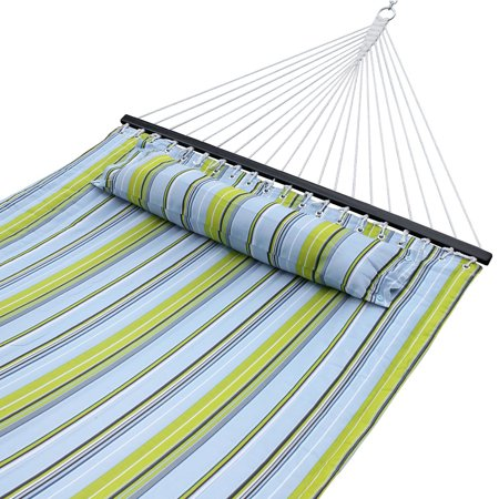Zeny Outdoor Double Hammock Quilted Fabric Sleeping Bed Swing Hang W/ Pillow 2 Person