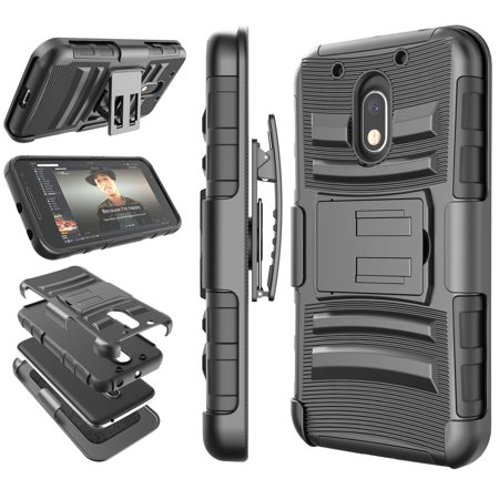 Moto G4 Play Case, Moto G4 Play Holster Belt, Tekcoo [Hoplite Series] Shock Absorbing [Black] Locking Clip Defender Heavy Full Body Kickstand Carrying Armor Cases Cover For Motorola Moto G (Best Moto G4 Cases)