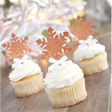 - Snowflake Cupcake Picks 12CT. Glitter Rose Gold Snowflake Toppers. Winter Onederland Cupcake Toppers.