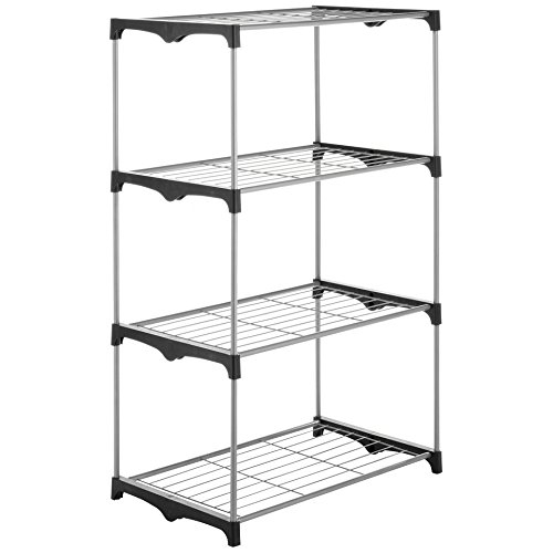 Kitchen Storage Shelf, Whitmor 4-tier Black Food Shelving Storage Shelf Metal by Whitmor