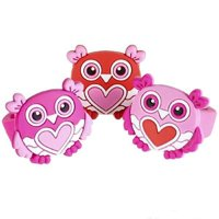 """1"""" RUBBER VALENTINE'S OWL RINGS- 24 Pack"""