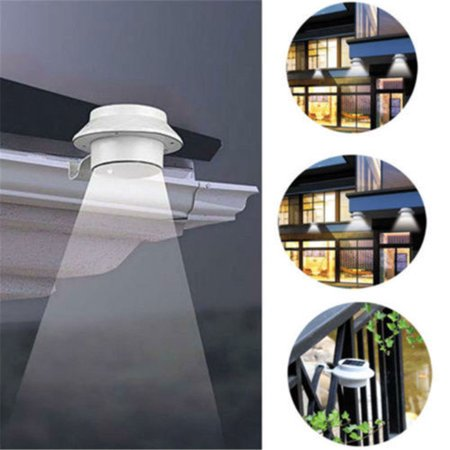 4PCS Solar Powered Gutter Light 3-LED Solar Fence Lights Garden Lamp for Patio Yard Wall Gutter Energy (Gutter Light)