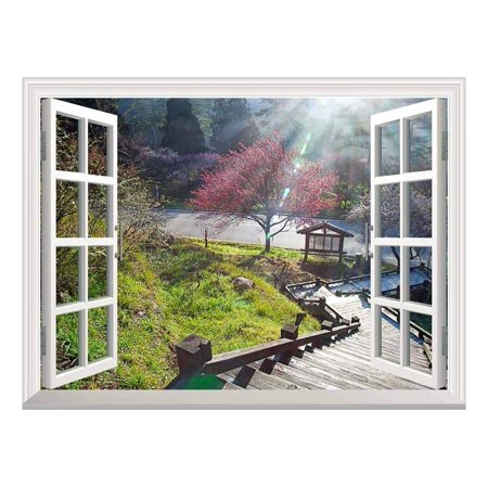 wall26 Modern White Window Looking Down Into a Stairway That Leads to a Japanese Garden with a Kiosk - Wall Mural, Removable Sticker, Home Decor - 24x32